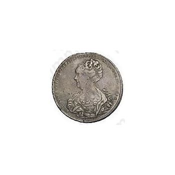 1 рубль 1725, Екатерина I, петербургский тип, портрет влево, без обозначения монетного двора, крестики разделяют надпись реверса - Аверс