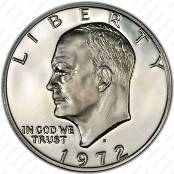 1 доллар 1972, доллар Эйзенхауэра, серебро - Аверс