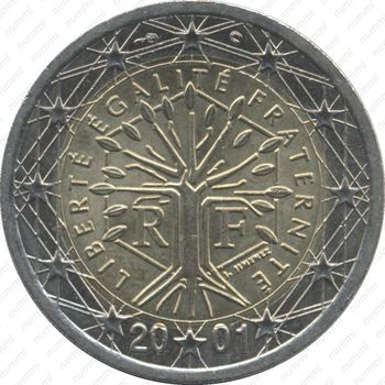 2 евро 2001, регулярный чекан Франции - Аверс