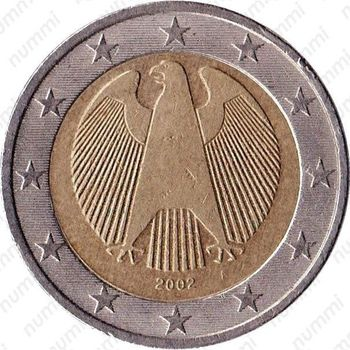 2 евро 2002, регулярный чекан Германии - Аверс