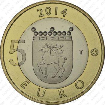 Медно-никелевая монета 5 евро 2014, орлан-белохвост (реверс)
