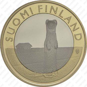 Медно-никелевая монета 5 евро 2015, горностай (реверс)