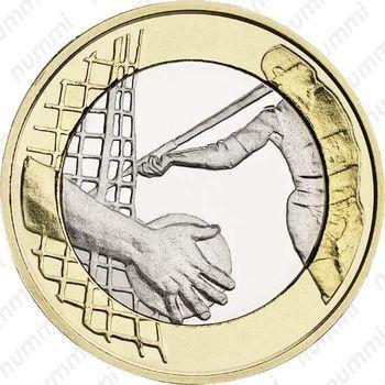 Медно-никелевая монета 5 евро 2016, легкая атлетика (реверс)