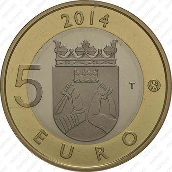 Медно-никелевая монета 5 евро 2014, кукушка (реверс)