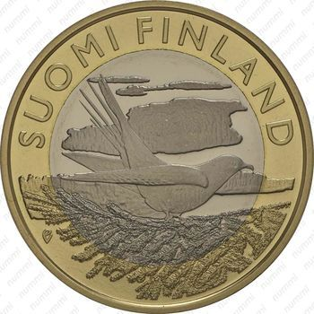 Медно-никелевая монета 5 евро 2014, кукушка (аверс)